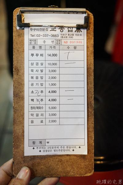 [韓國首爾弘大美食]校洞家교동집-辣炒小章魚五花肉香辣滋味讓人難忘,弘大地鐵2號出口步行5分鐘 有說中文店員 韓國首爾美食