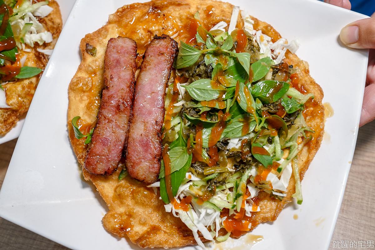 [東大門夜市美食]吉香炸蛋蔥油餅-大腸包小腸看多了 沒吃過炸彈蔥油餅包香腸 超酥脆口感加了酸菜更夠味  花蓮美食
