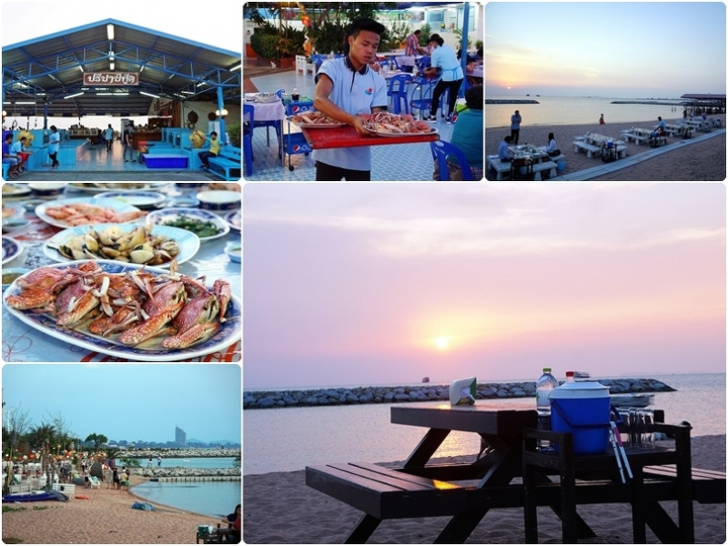 [泰國芭達雅美食]Preecha Seafood pattaya 海鮮餐廳 能在沙灘上戲水 看著夕陽吃著美食也太幸福了吧 @跳躍的宅男